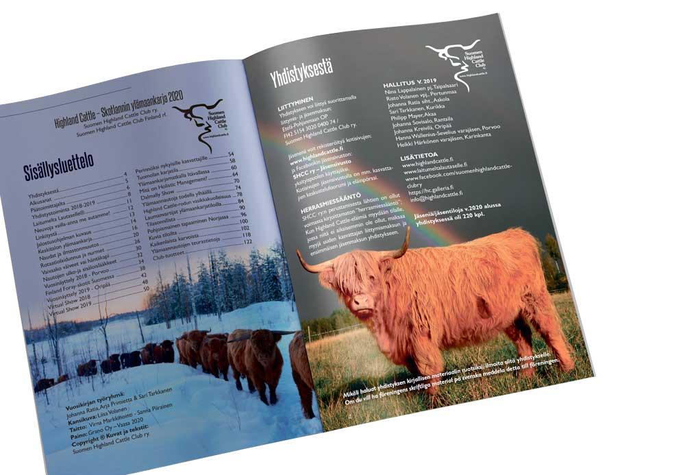 Suomen Highland Cattle Clubin vuosikirjan aukeama