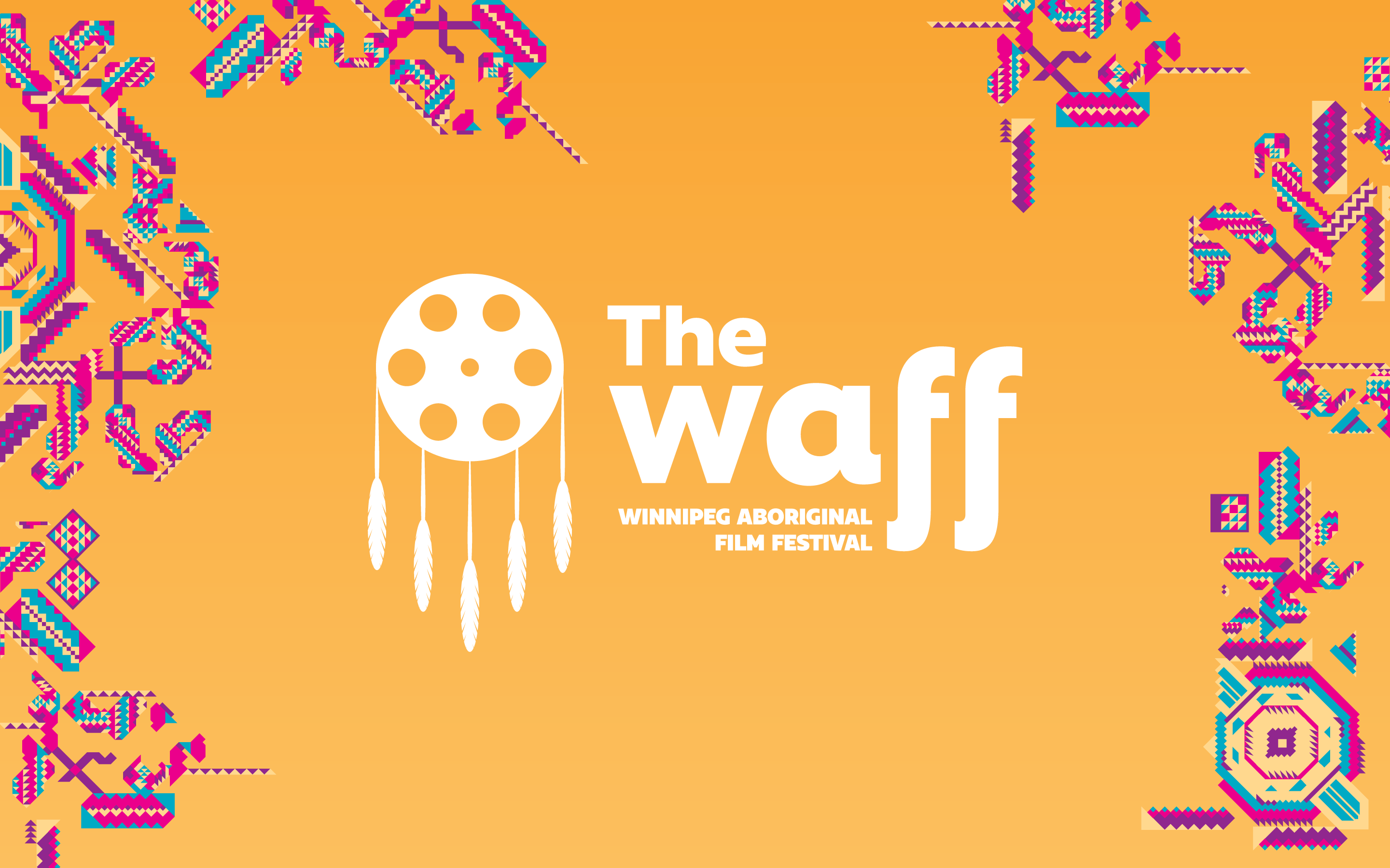 Photo of the proposed logo for the Winnipeg Aboriginal Film Festival (The Waff) and supporting theme graphics