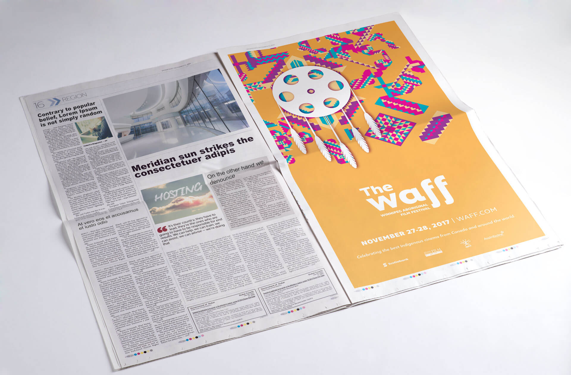 Photo of a full page newspaper advertisement for the Winnipeg Aboriginal Film Festival The Waff
