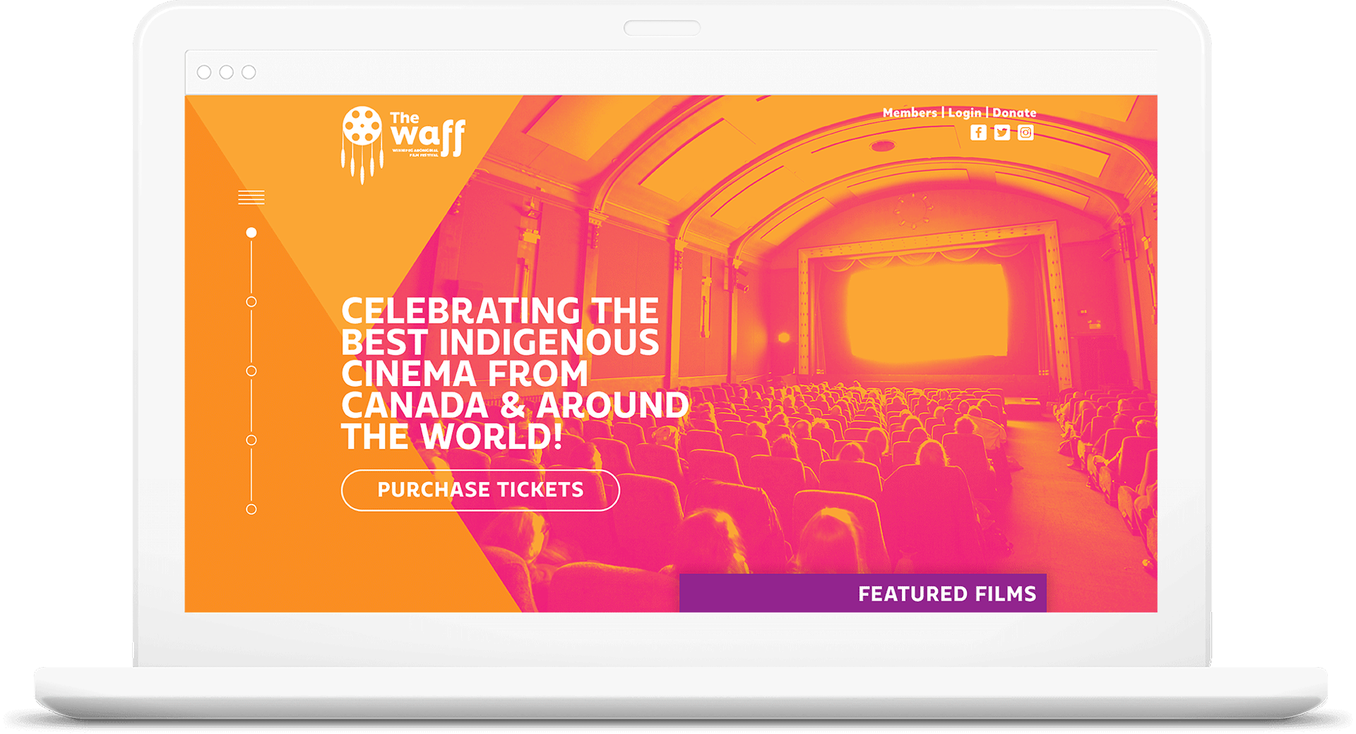 A mock up for the Winnipeg Aboriginal Film Festival website redesign.