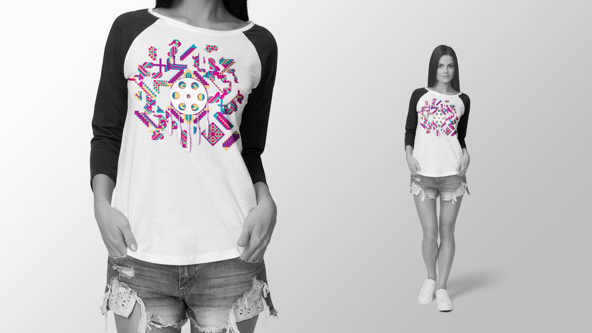 A long sleeve shirt design for the Winnipeg Aboriginal Film Festival