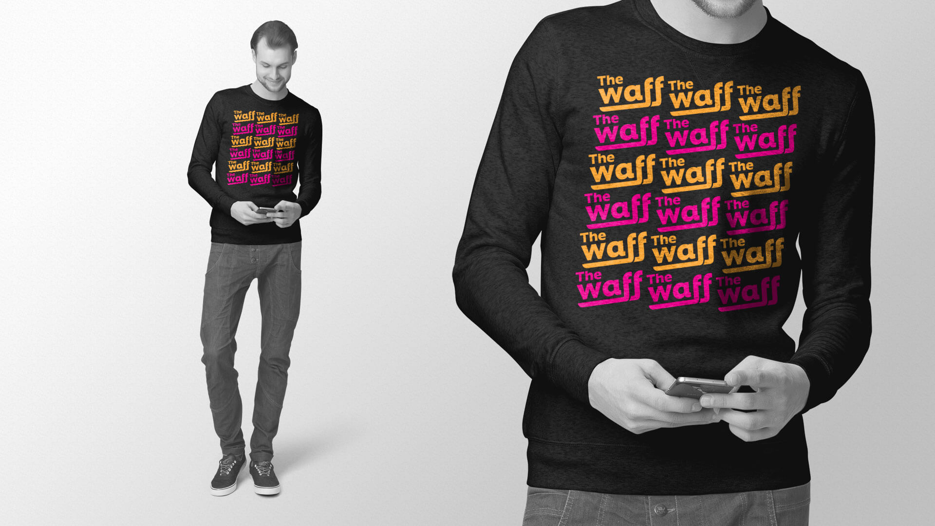A crew neck long sleeve shirt design that relates to the proposed Winnipeg Aboriginal Film Festival campaign.