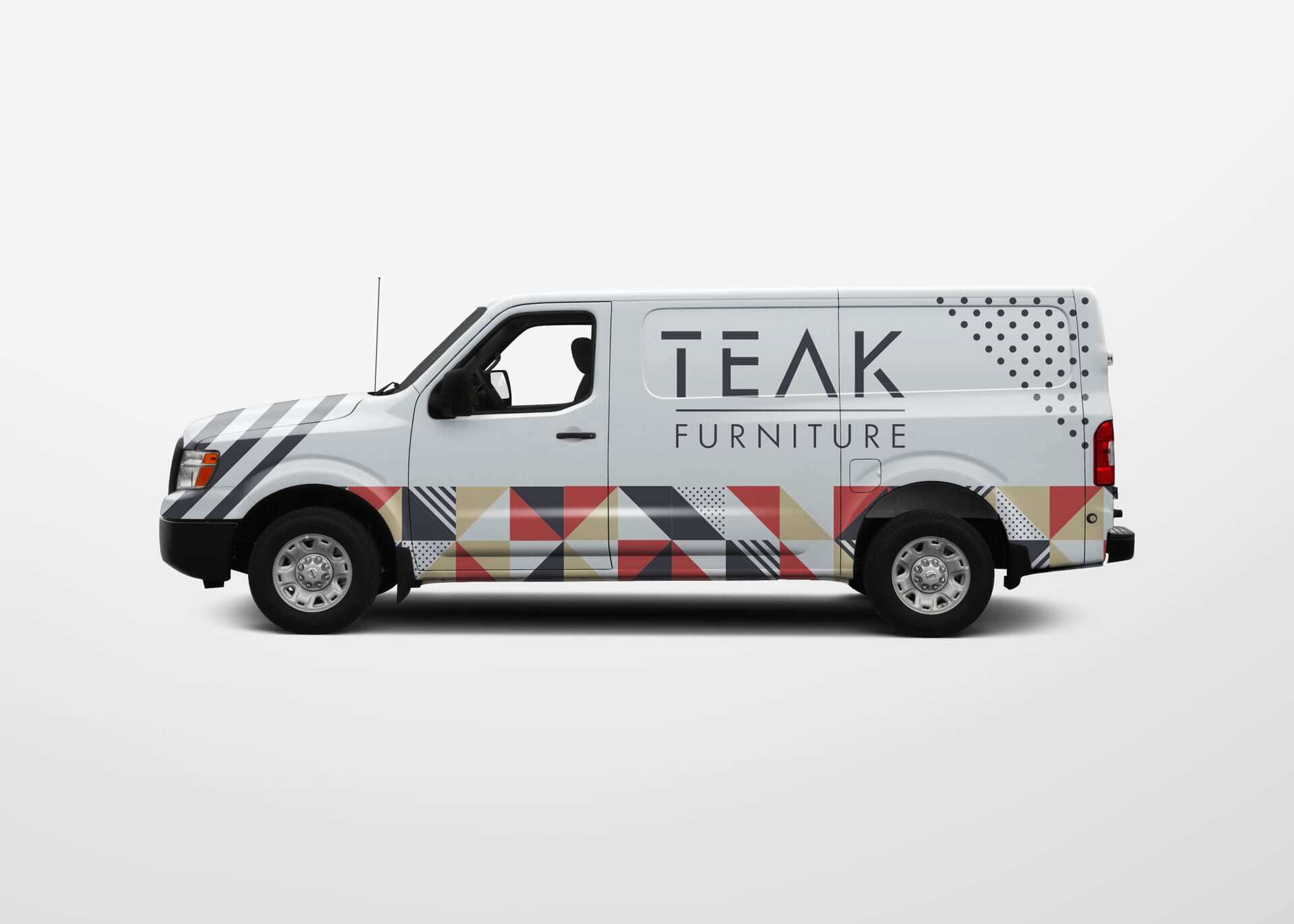 Teak furniture delivery van with branding wrap