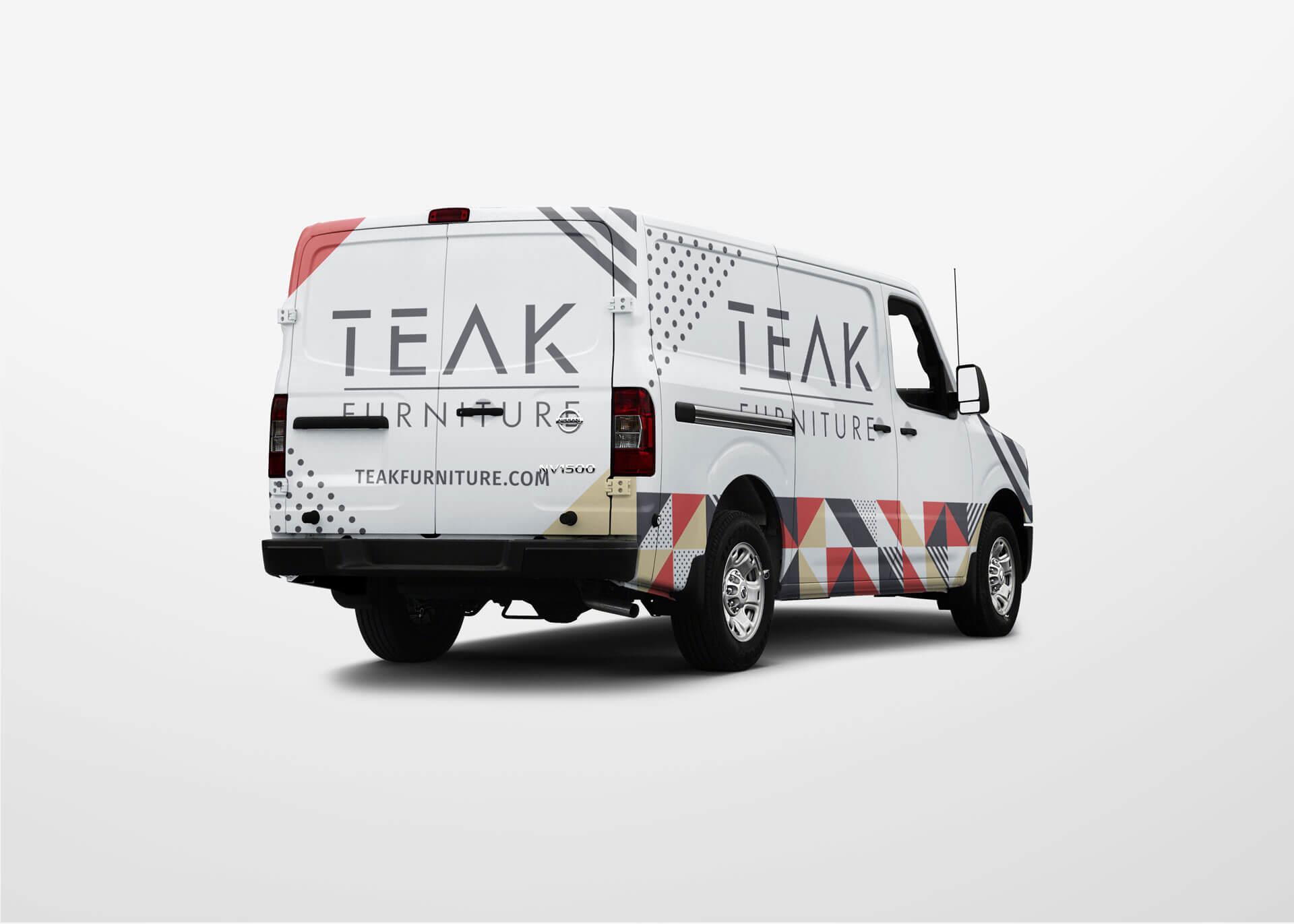 Teak furniture delivery van with vehicle wrap