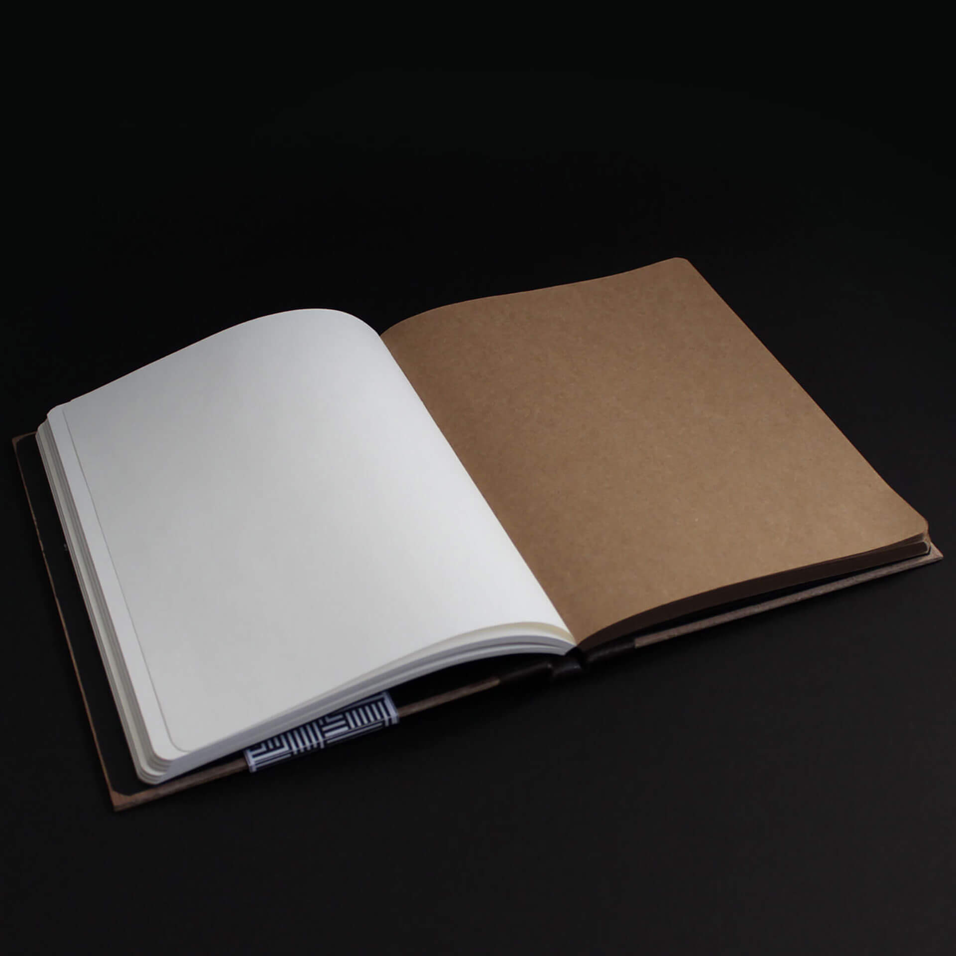 Ligna Sketch open spread two tone white paper stock and kraft paper