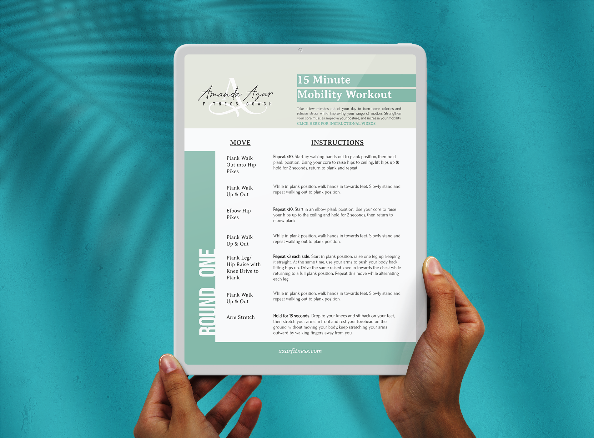 Hands holding tablet displaying Workout Guide pdf.