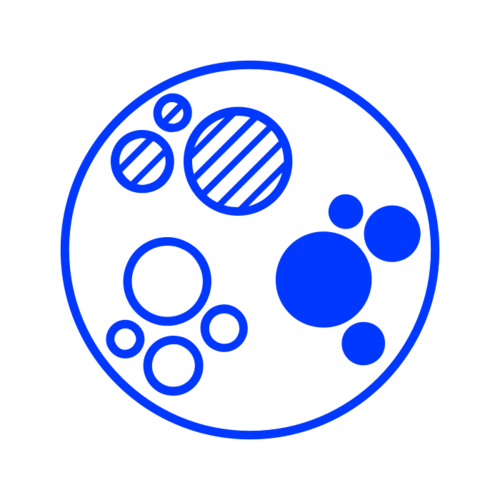 Circle with three different sets of coloured circles inside, depicting chatbot analytics.