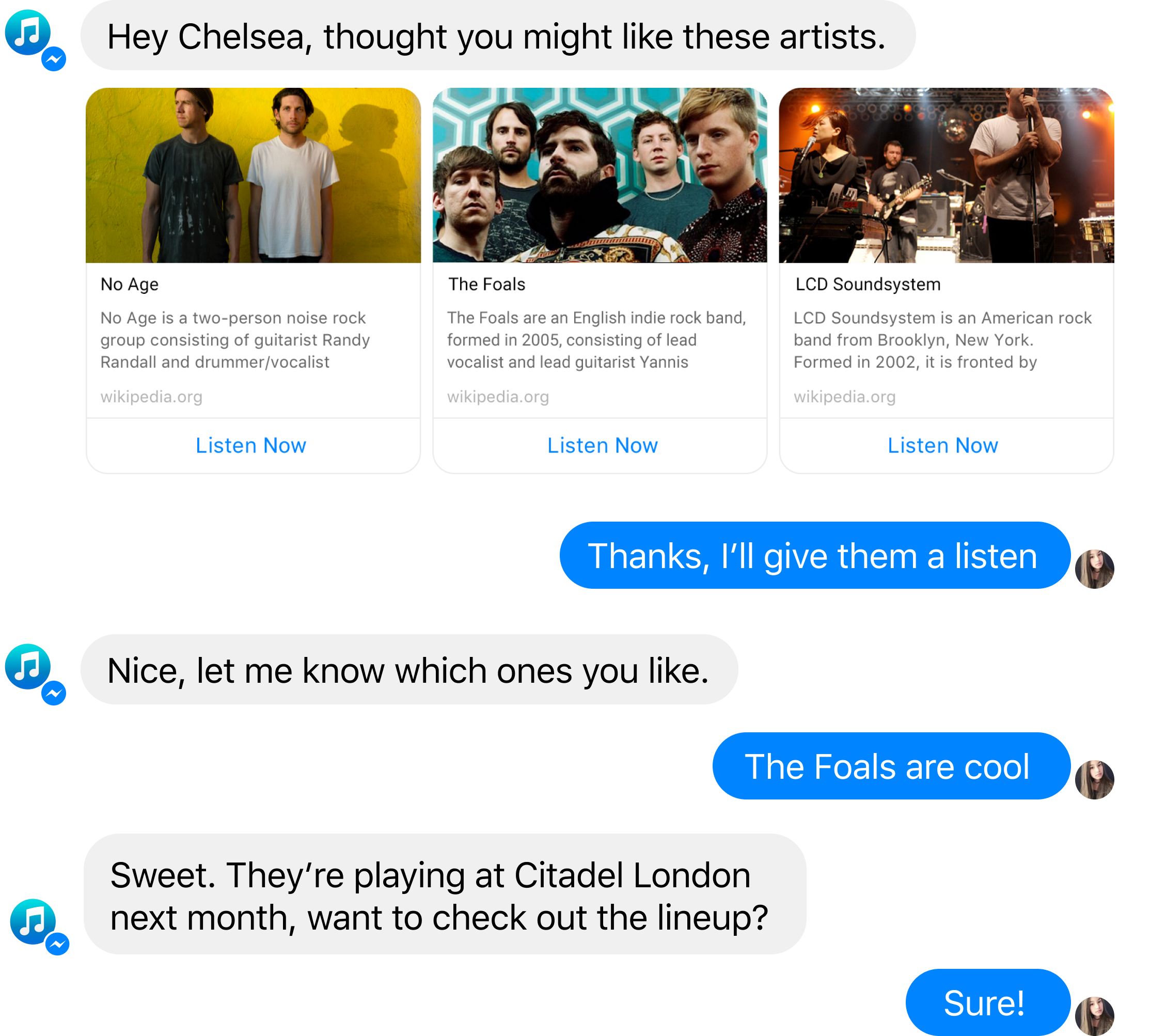 Example conversation flow with a chatbot built using Bot the Builder.