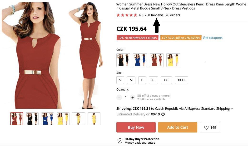 Stránka s dámskými červenými šaty na AliExpressu za 196 korun a šipka, která ukazuje na recenze.