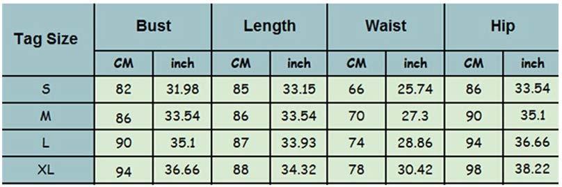 Modrá tabulka velikostí s různými parametry jako písmena i čísla, kterou jsme našli na AliExpressu u produktu dámské šaty.