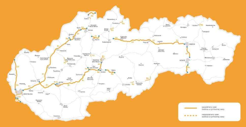 Mapa Slovenska s vyznačenými neplacenými a placenými úseky dálnice, pro které je potřeba dálniční známky.