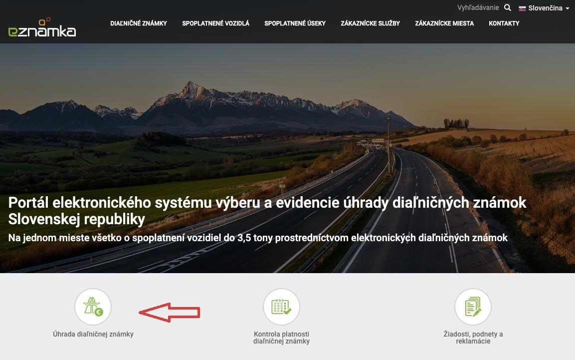 Úvodní stránka webu eznamka.sk, kde je možné zakoupit si oficiální cestou slovenskou dálniční známku.