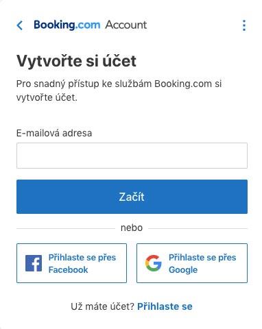 Registrační formulář na Booking.com, který slouží k založení účtu - v prvním kroku požaduje email, později pak vaše jméno.