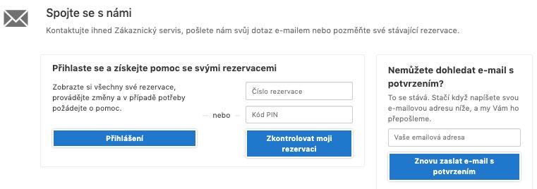 Kontaktní formulář na Booking.com pro neregistrované uživatele - pro postup budete potřebovat číslo rezervace nebo PIN.