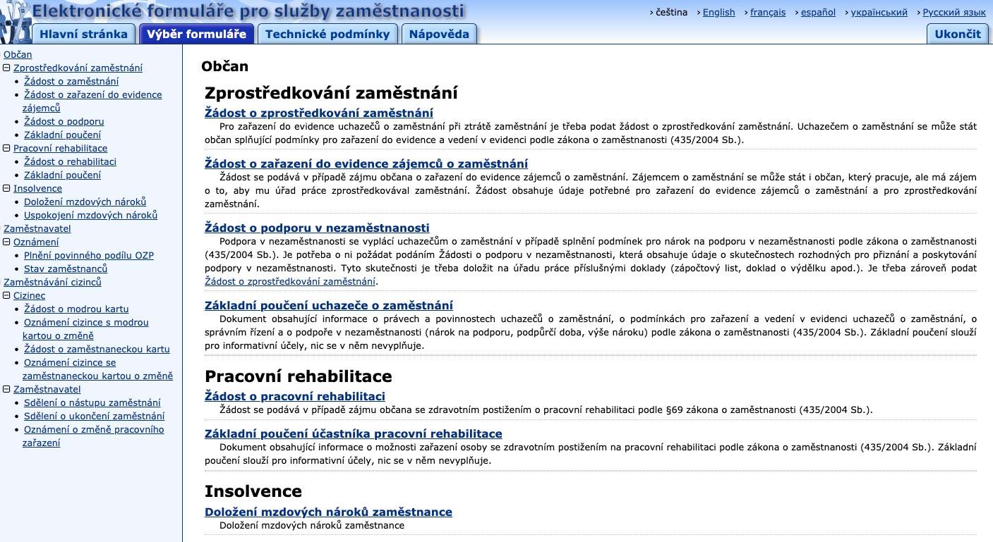 Internetové stránky státní správy, ze kterých jdou stáhnout všechny formuláře.