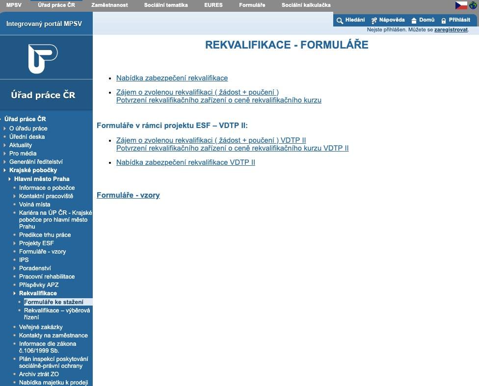 Internetové stránky státní správy, ze kterých jdou stáhnout formuláře pro rekvalifikaci.