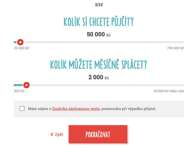 Internetová stránka Zonky a formulář žádosti o půjčku - jako první volíme, kolik si chceme půjčit a kolik můžeme splácet.