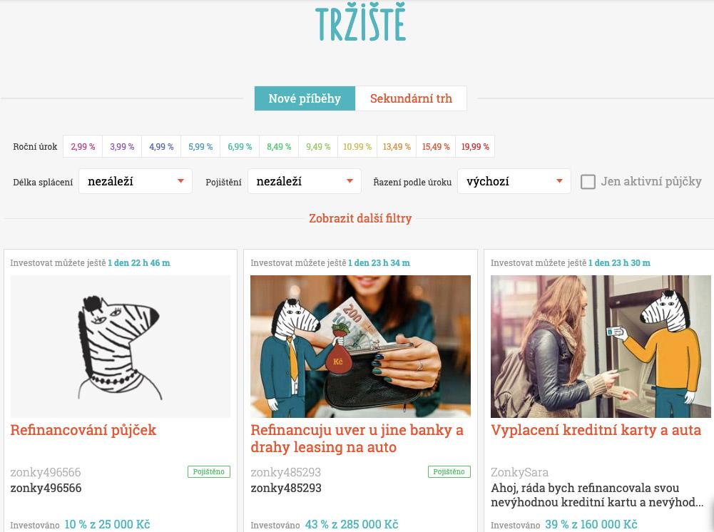 Tržiště půjček na stránce Zonky, kde se objevují příběhy lidí, kteří žádají o půjčku.