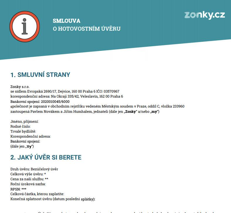 Smlouva o hotovostním úvěru stažená ze stránek Zonky - je jednoduchá a má 4 strany.
