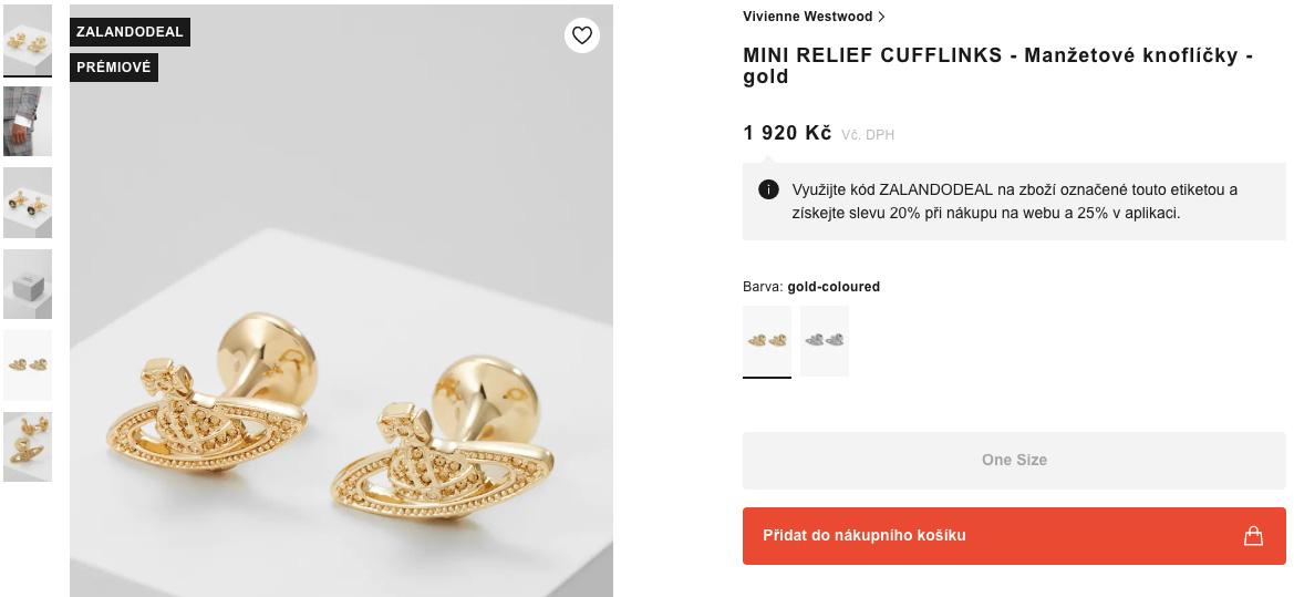 Produkt manžetové knoflíčky od Vivienne Westwood na webu Zalanda.