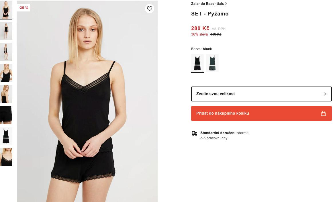 Pyžamo značky Zalando Essentials na webu Zalanda, které Zalando nabízí za 280 korun.