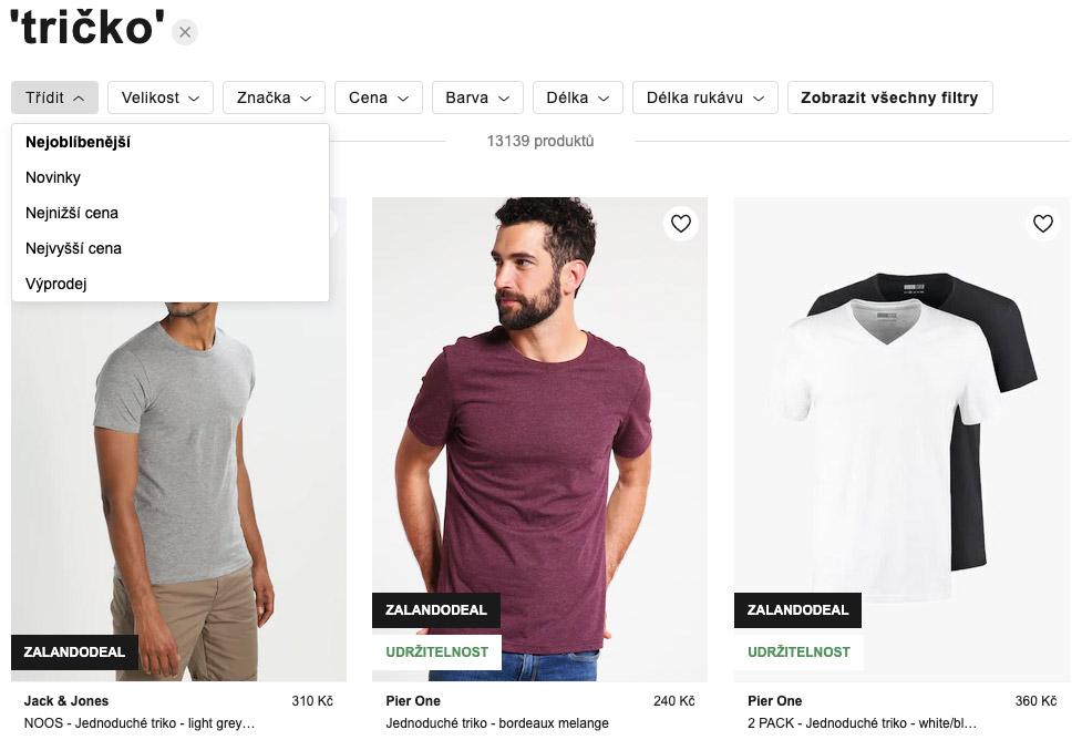 Ukázka vyhledávání zboží na Zalandu - hledáme tričko a používáme funkci třídit.
