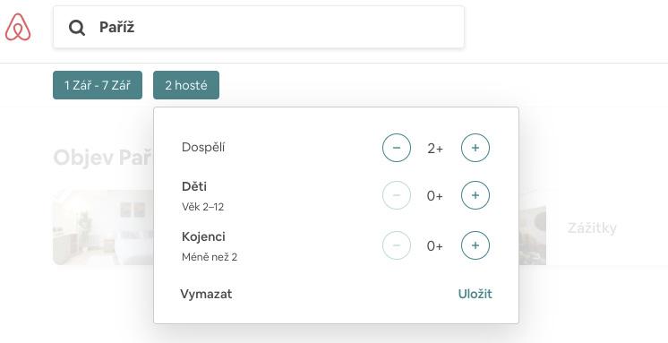 Základní zadávané údaje na stránce Airbnb jako kam se cestuje, datum a počet ubytovaných hostů.