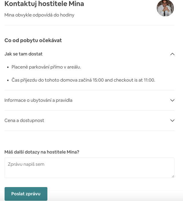 Stránka s kontaktem na hostitele na Airbnb - v tomto případě jde o hostitele Minu, který nabízí ubytování v Paříži.