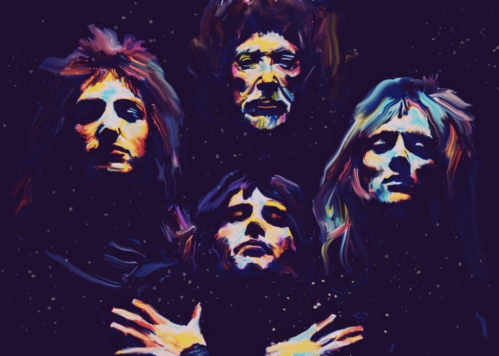 Popartový plakát zobrazující 4 členy populární kapely Queen.