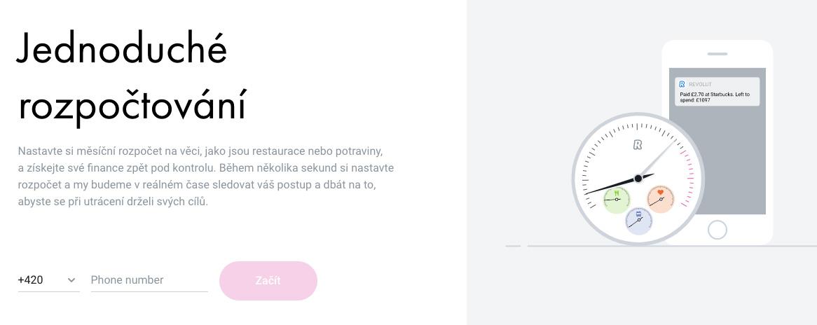 Screenshot webu Revolutu zachycující popis služby Rozpočtování.