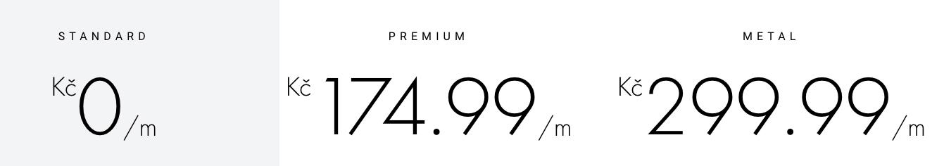 3 typy účtu na Revolutu: Standard (zdarma) a Premium (174,99 Kč měsíčně) a Metal (299,99 Kč měsíčně).