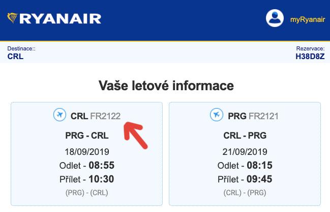 Screenshot emailu, který nám přišel z mailu itinerary@ryanair.com - červená šipka na screenshotu ukazuje na číslo letu.