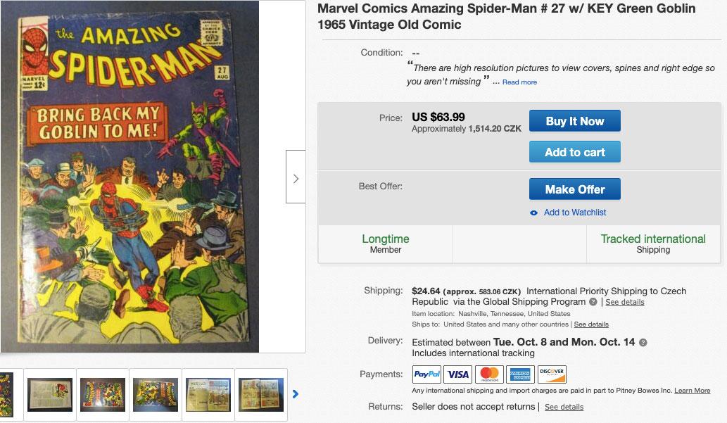 Vintage komiks se Spider-Manem z roku 1965, který se dá na eBay koupit za 1514 korun.
