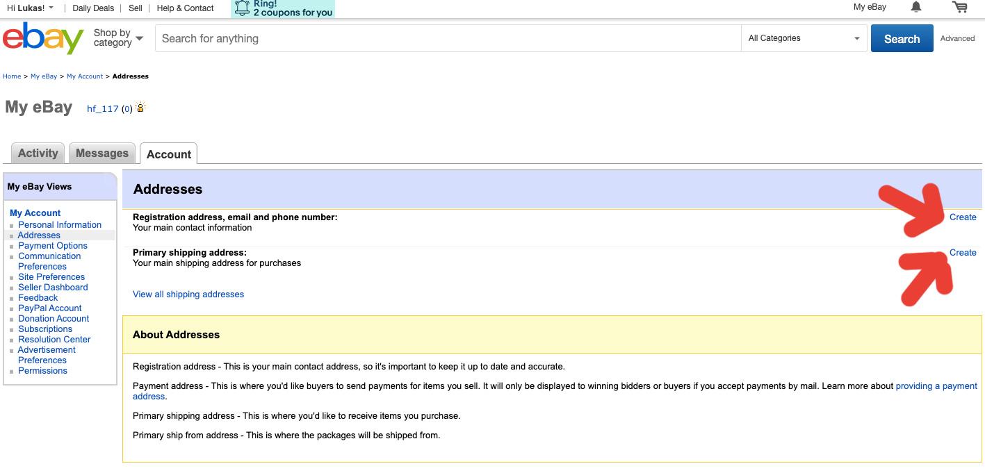 Stránka na webu eBay, na které se dá nastavit adresa bydliště, telefonní číslo a doručovací adresa.