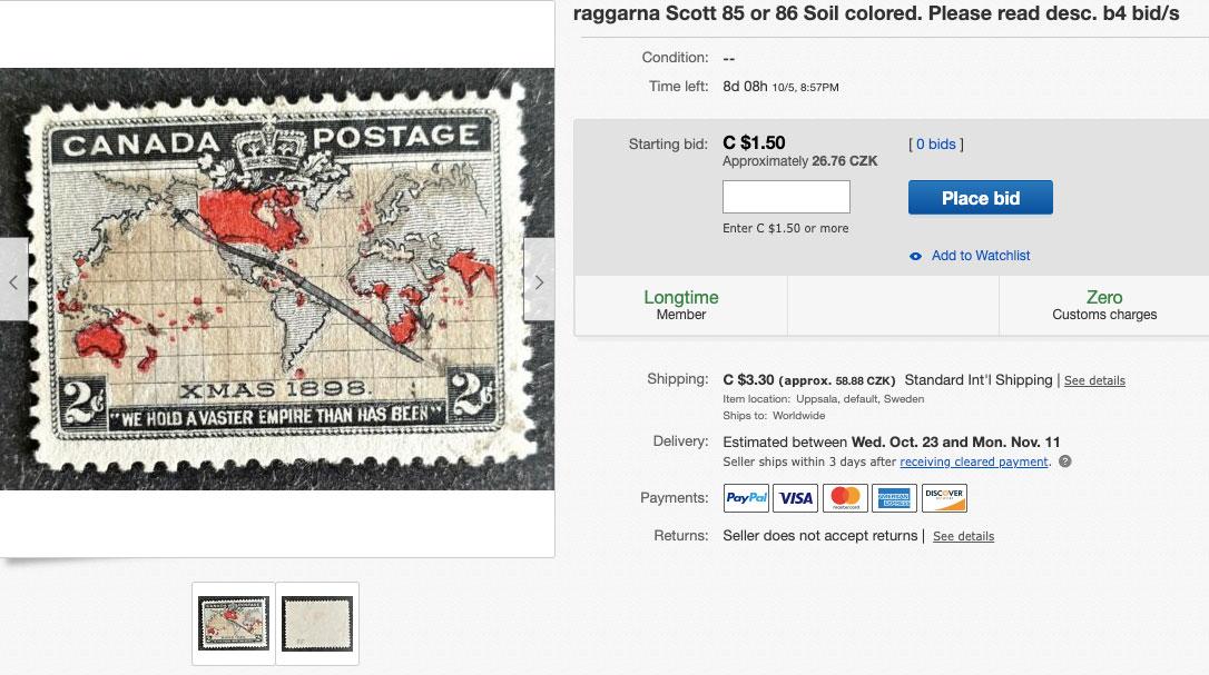 Kanadská poštovní známka na webu eBay, kterou je možné vydražit - poslední příhoz byl 26,76 korun.