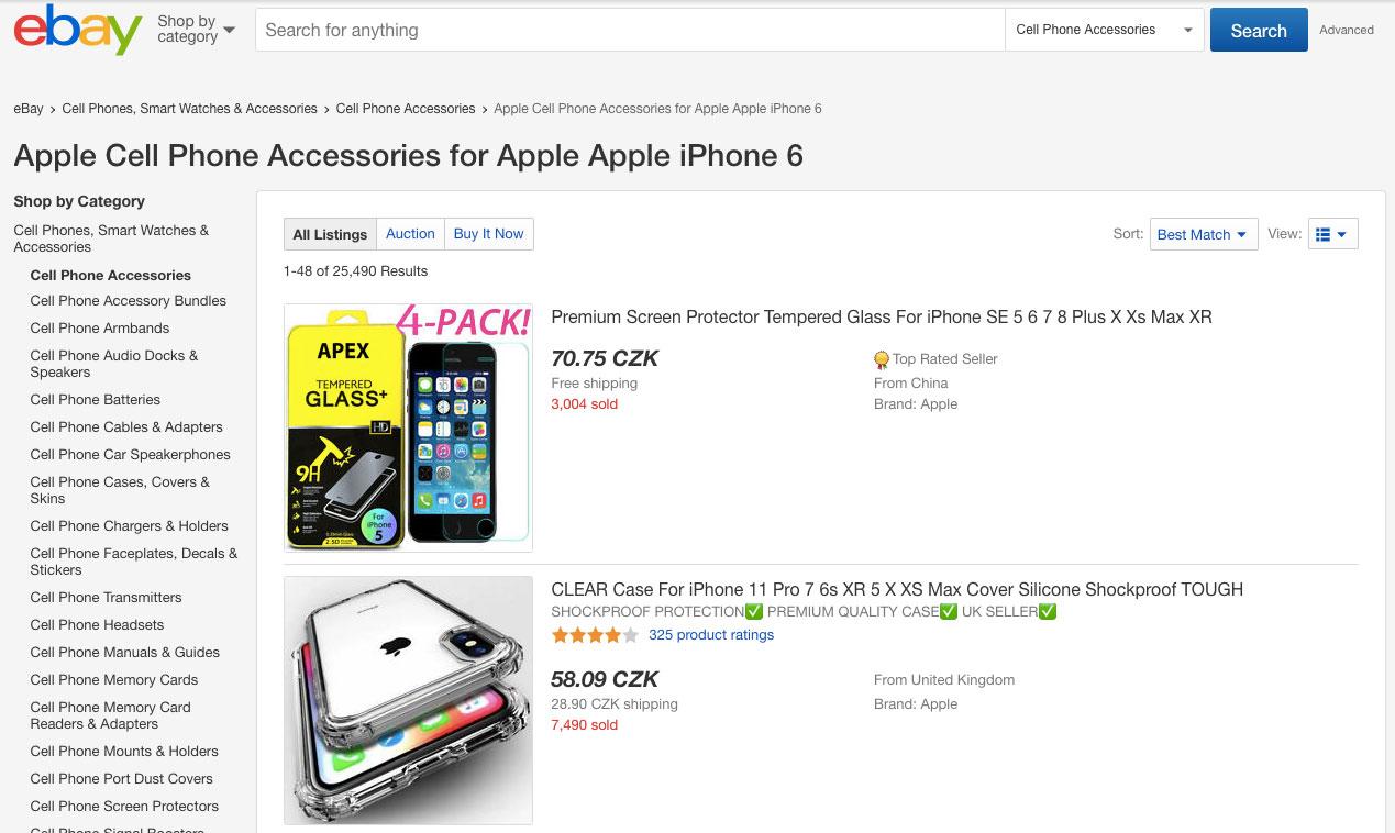 """Vyhledávání zboží na stránce eBay - toto vyhledávání probíhá v kategorii """"Příslušenství pro iPhone 6 od Applu""""."""