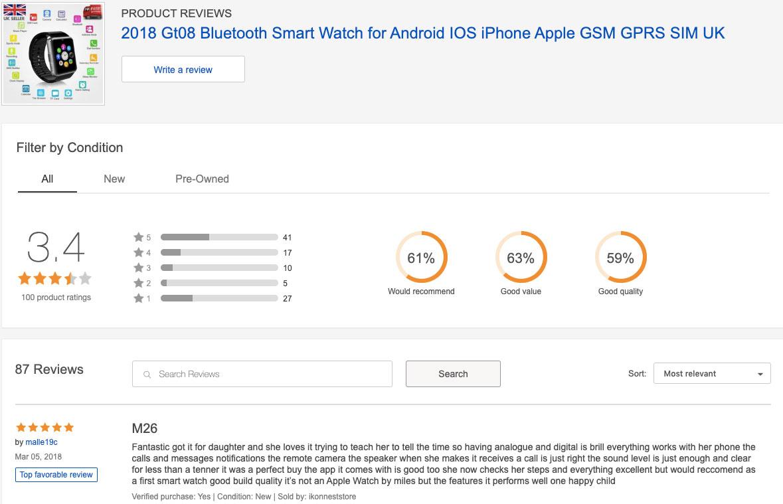Uživatelské recenze chytrých hodinek na stránce eBay, které získaly pouze 3,4 hvězdičky z 5.