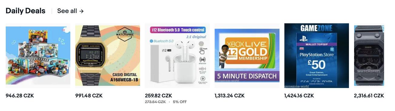 Hodinky, sluchátka a další zboží z akce Daily Deals, která probíhá každý den na webu eBay.