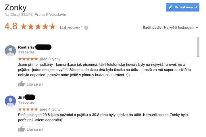 Screenshot s recenzemi služby Zonky na Googlu - služba tam má celkem 144 recenzí a skóre 4,8 hvězdičky z 5.
