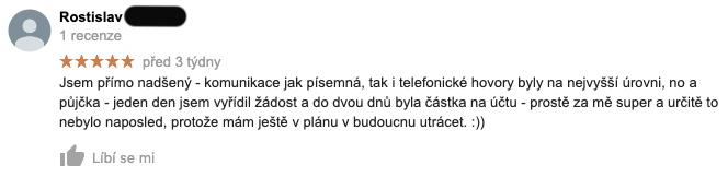 3 týdny stará recenze služby Zonky na Googlu - recenzent Rostislav chválí úroveň komunikace a rychlost vyřízení půjčky.