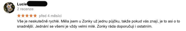 """4 měsíce stará recenze služby Zonky na Googlu - recenzentka Lucie chválí, že je vše """"neskutečně rychlé""""."""