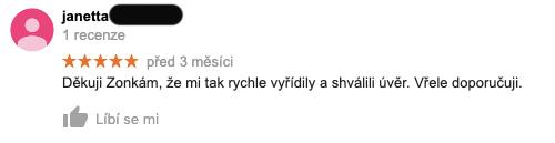 3 měsíce stará recenze služby Zonky na Googlu - recenzentka janetta děkuje Zonky za rychlé vyřízení a schválení úvěru.