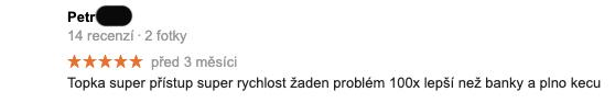 """Recenze služby Zonky na Googlu - recenzent Petr píše, že zažil """"super rychlost a super přístup""""."""