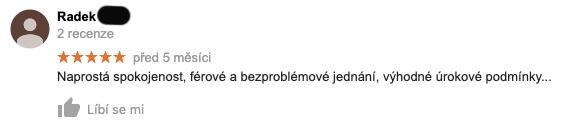 Recenze služby Zonky na Googlu - recenzent Radek chválí, že má služba výhodné úrokové podmínky a férové jednání.