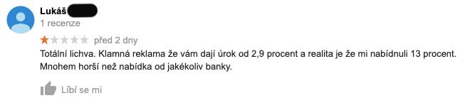 """Recenze služby Zonky na Googlu - recenzent Lukáš si stěžuje, že """"je to lichva"""". Byl mu nabídnut úrok 13 % ročně."""