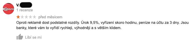 Recenze služby Zonky na Googlu - recenzent V. si stěžuje, že na peníze čekal 3 dny a dostal úrok 9,5 % ročně.