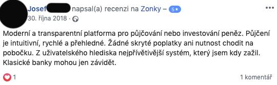 Facebooková recenze služby Zonky - Josef chválí moderní a intuitivní platformu a absenci skrytých poplatků.