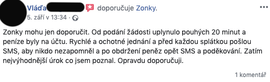 Facebooková recenze služby Zonky - Vláďa chválí rychlost poskytnutí úvěru (20 minut) a upomínací SMS před splátkou.
