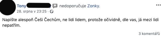 """Negativní příspěvek na facebookové stránce Zonky - Tony si stěžuje na slogan reklamy """"lidé půjčují lidem""""."""