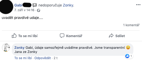 """Negativní příspěvek na facebookové stránce Zonky - Gabi píše jen """"uvadět pravdivé údaje...."""" bez dalšího vysvětlení."""